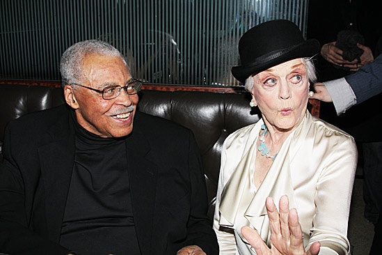 5-time Tony Award winner Angela Lansbury and 2-time Tony Award winner James Earl Jones celebrating the opening night of Gore Vidal&rsquo;s The Best Man on April 1, 2012